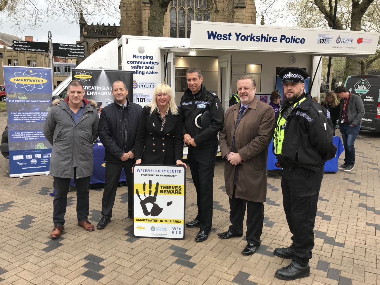 Mark pictured with Wakefield Police and the Wakefield BID