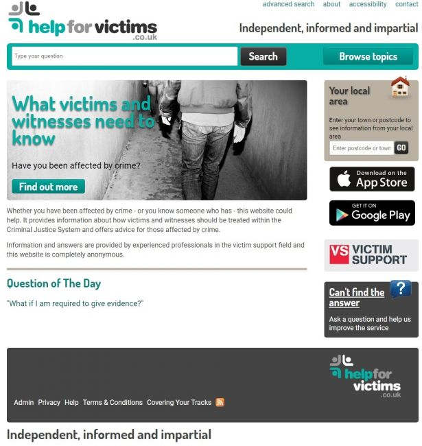 Screenshot from the Help for Victims website